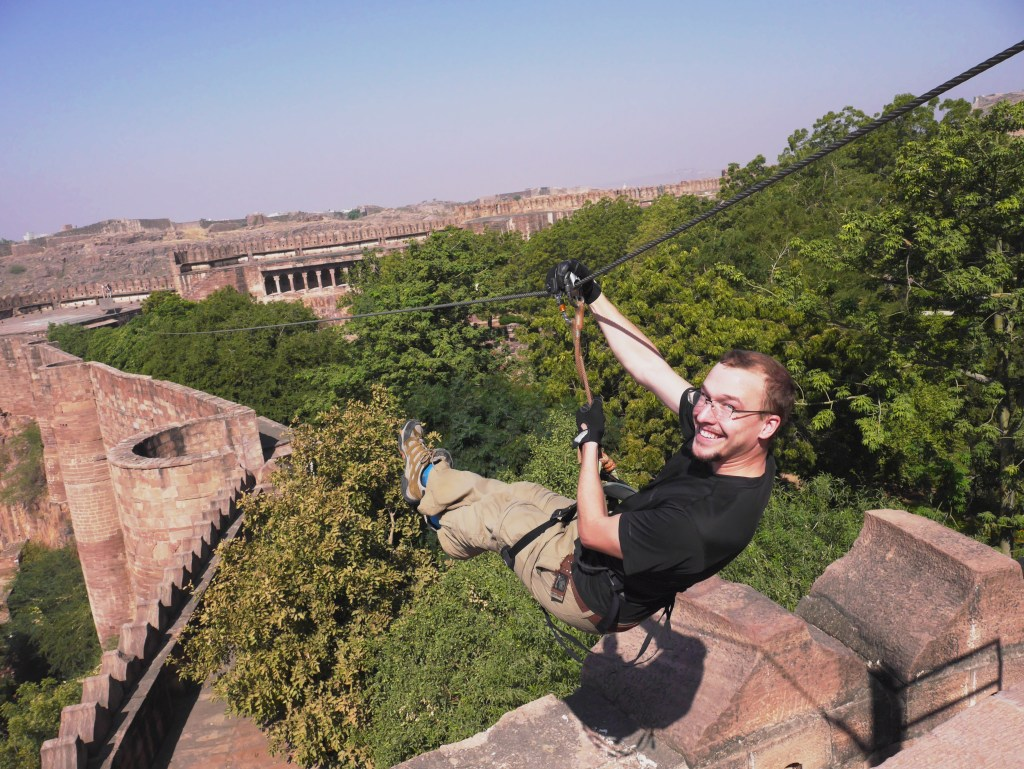 Zip-lining from the walls of Mehrangarh Fort