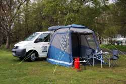 Awning extension with BBQ and Camping Chairs/Table