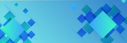 Blue blog banner with quadratic design