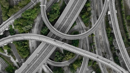 aerial photo of gray concrete top roads