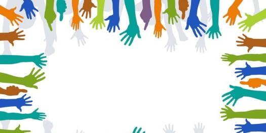 Image of many hands in different color all placed at the border of the picture