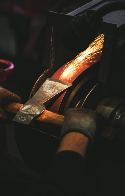 Sparks of fire whilst a metal being worked on by metalsmith
