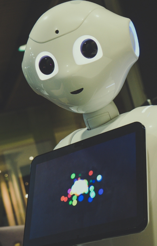 a robot with a tablet