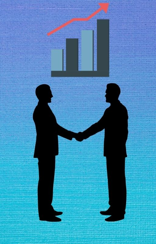 blue background with two men shaking hands and a bar graph with an upward arrow