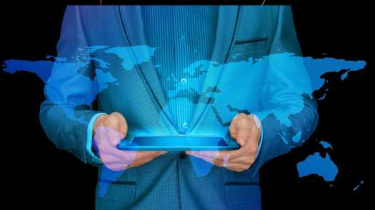 two hands holding a phone and a blue hologram of the world map emerging from it
