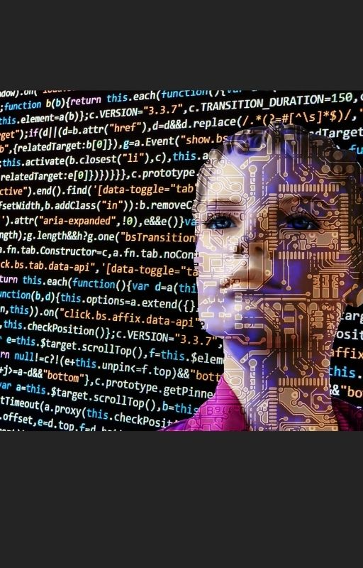AI woman looking at a screen filled with code