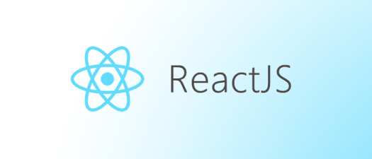 Logo of React with three ovals intersecting each other and the word ReactJS written beside it