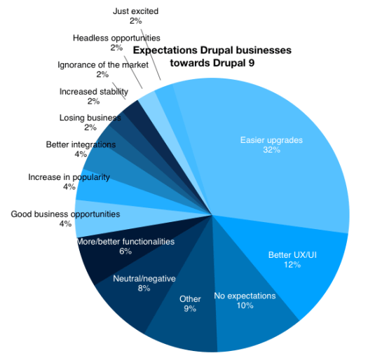 Pie chart with different variations of blue colour in different regions to show Drupal Business Survey 2019