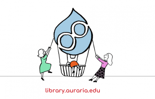 An image of a hot air balloon with a Drupal 8 logo on the head. Two girls are pulling the balloon from the left as well as right respectively. Another girl is trying to climb it