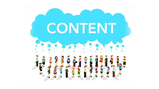 Image of a blue cloud that says content under which 28 lego humans are standing and rain is showering upon them through that cloud