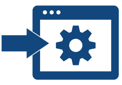 An arrow and a box icon representing settings icon
