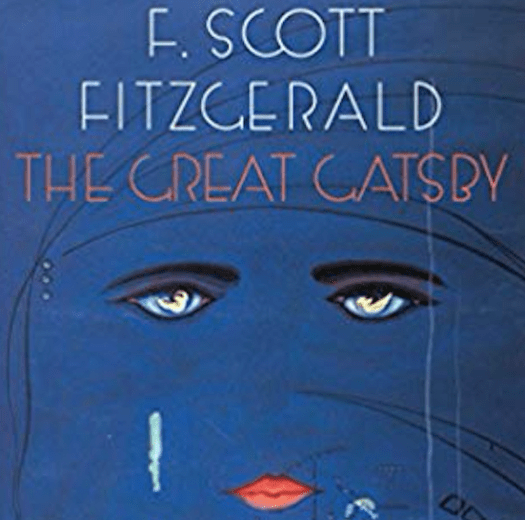 Cover page of the Great Gatsby book with illustration showing eyes and lips