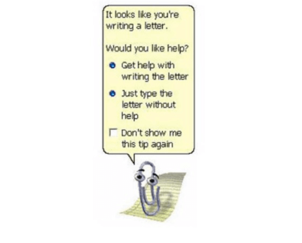 The image shows an animated paperclip used in web design as humour.