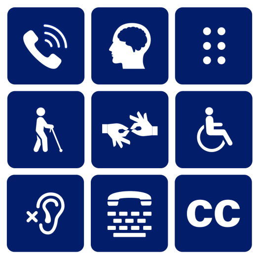 Dark blue square boxes with different disabilities