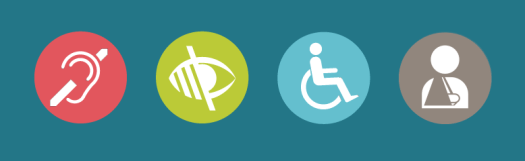 a rectangle with four circles placed in vertical position with red, green, blue and grey color respectively in a blue background with an ear, eye, wheelchair and man in circles respectively