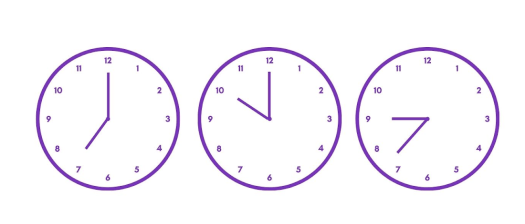 Three clocks on a white background