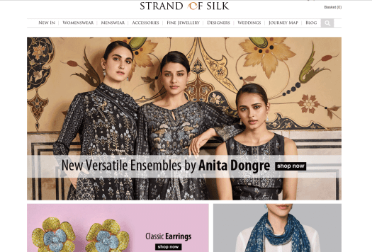 homepage of strands of silk with three women in indian ethnic wear