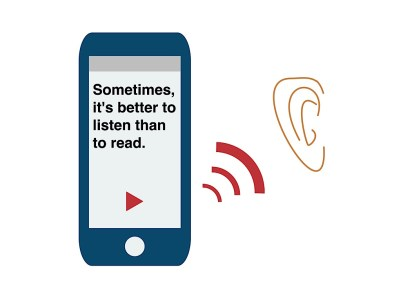 a mobile phone where a text is written and an ear is hearing the text which is being spoken
