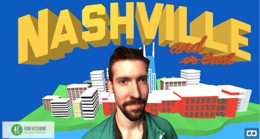 virtual reality postcard with blue background, graphics of buildings, yellow text and the face of a man