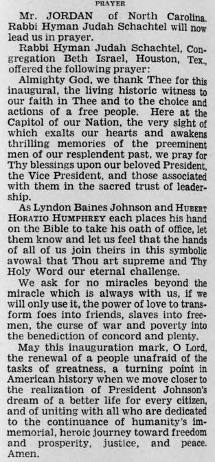 Inauguration Day Prayer for President Lyndon B. Johnson by Rabbi Hyman Judah Schachtel (1965)