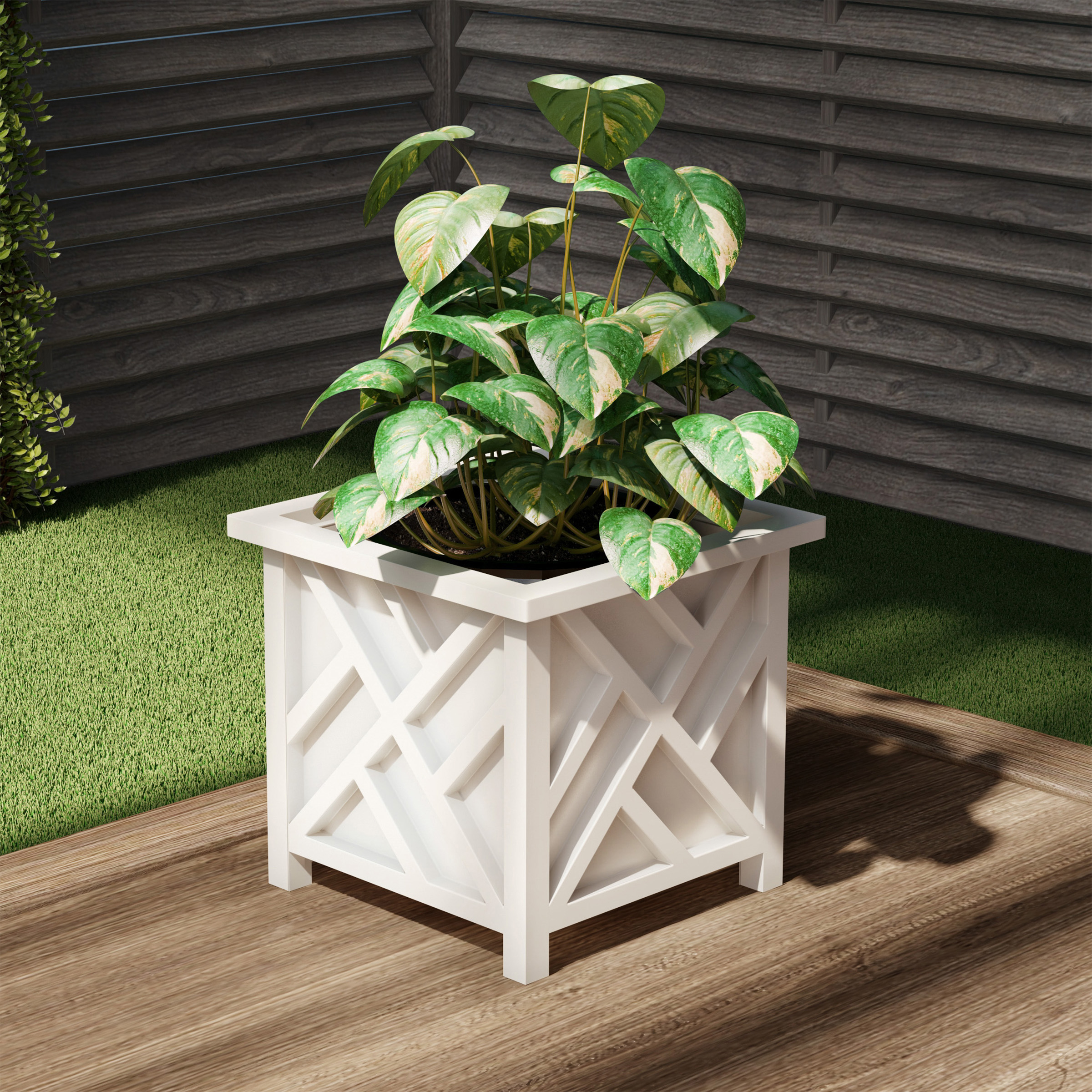 pure garden square planter box black lattice container for flowers plants bottom insert holds soil outdoor pot for garden patio white from