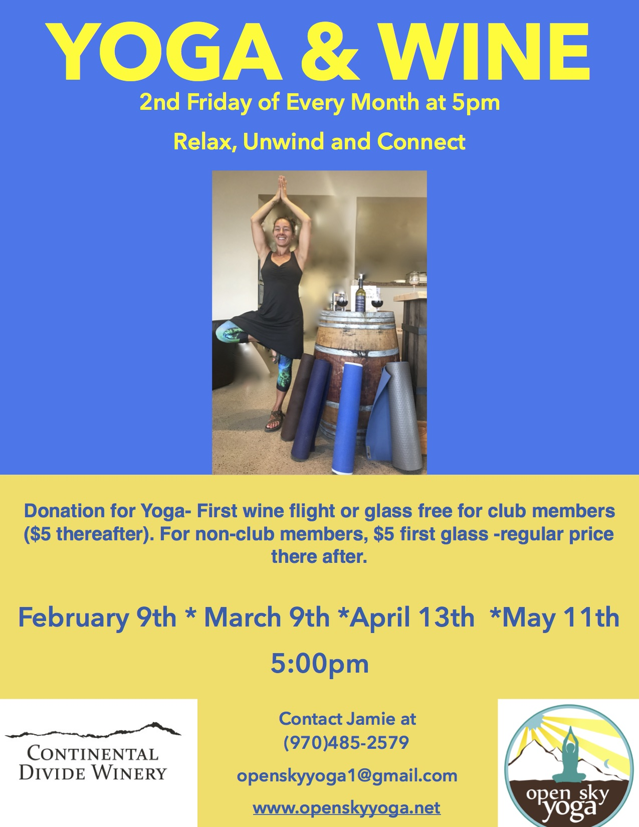 Open sky yoga fairplay co for Yoga and wine retreat