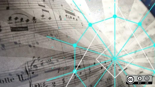 Sheet music with geometry graphic
