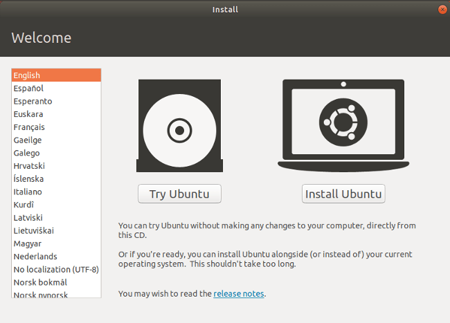 Ubuntu installation welcome screen