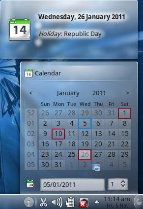 Figure 4: Local holidays in the calendar