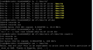 Figure 1: Playing with the 'Disk on RAM' driver