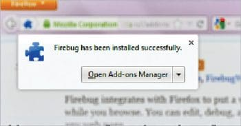 Figure 2: Firebug successfully installed