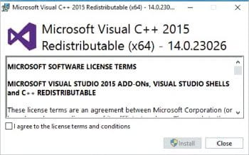 Figure 1 Visual C++ redistribution installation