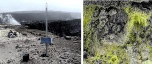 Figura 4.17 Una estación de monitorización en la composición del gas (izquierda) dentro de la caldera Kilauea y en el borde del cráter de Halema'uma'u. Las nubes crecientes están compuestos principalmente por vapor de agua, pero también incluyen dióxido de carbono y dióxido de azufre. cristales de azufre (derecha) se han formado alrededor de un tubo de gas en la caldera. [SE fotos]