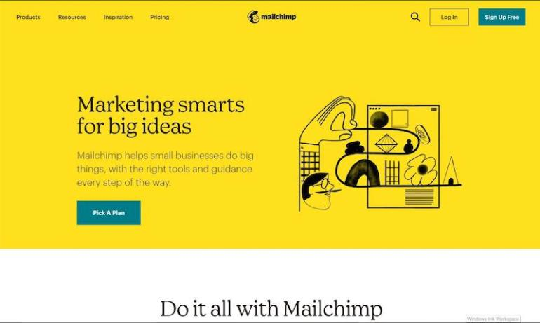 Captura de tela do Mailchimp