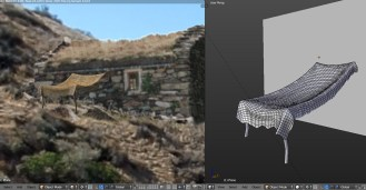 Creating a moving cloth detail for the hut