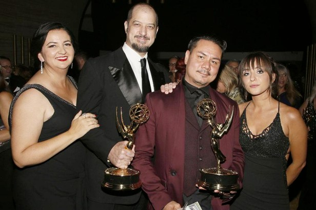 Paul Ghezzo, center left, with the Emmy for Outstanding Special Visual Effects