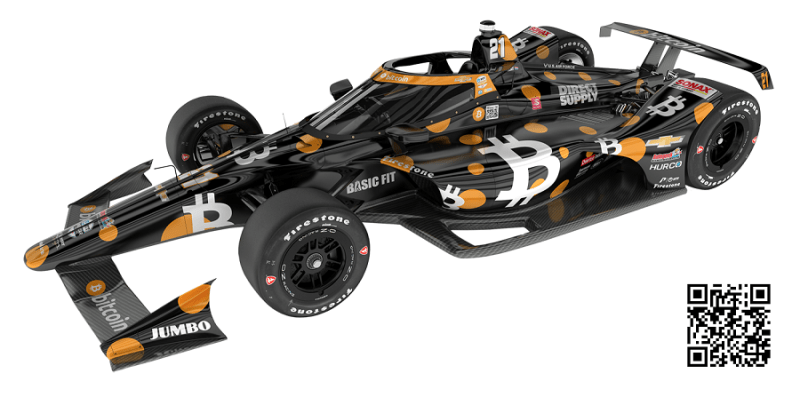 2021 INDYCAR LIVERIES MAY 500 BITCOIN REVEAL CAR 21