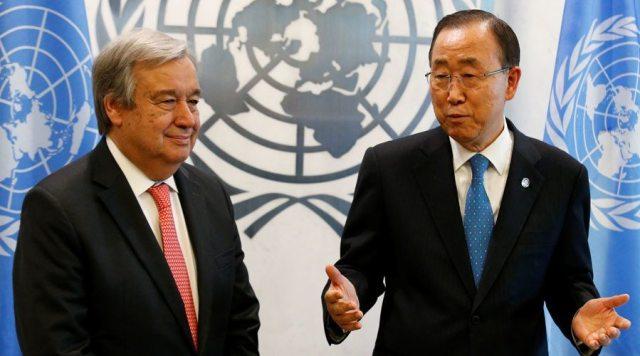 Secretary General-designate Antonio Guterres of Portugal (L) is greeted by U.N. Secretary General Ban Ki-moon at the U.N. headquarters in New York City, U.S. October 13, 2016. © Brendan McDermid / Reuters