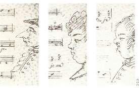 Caricatures exécutées par les musiciens de l'orchestre lors d'une représentation