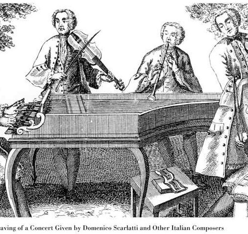 18th Century Copper Engraving of a Concert Given by Domenico Scarlatti and Other Italian Composers