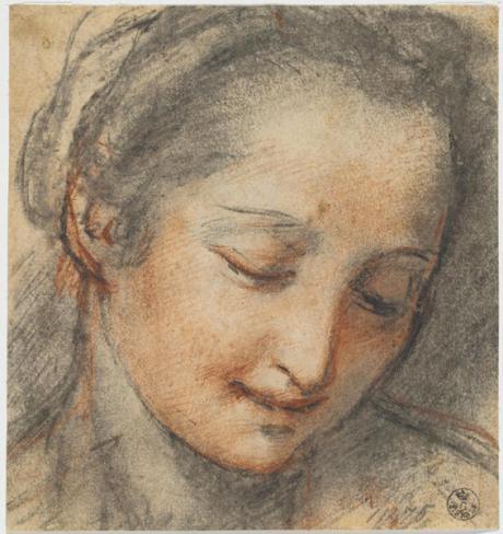 Federico Barocci, Testa di giovane donna con lo sguardo rivolto verso il basso - Carboncino, pietra rossa, carta - Firenze, Gabinetto Disegni e Stampe degli Uffizi