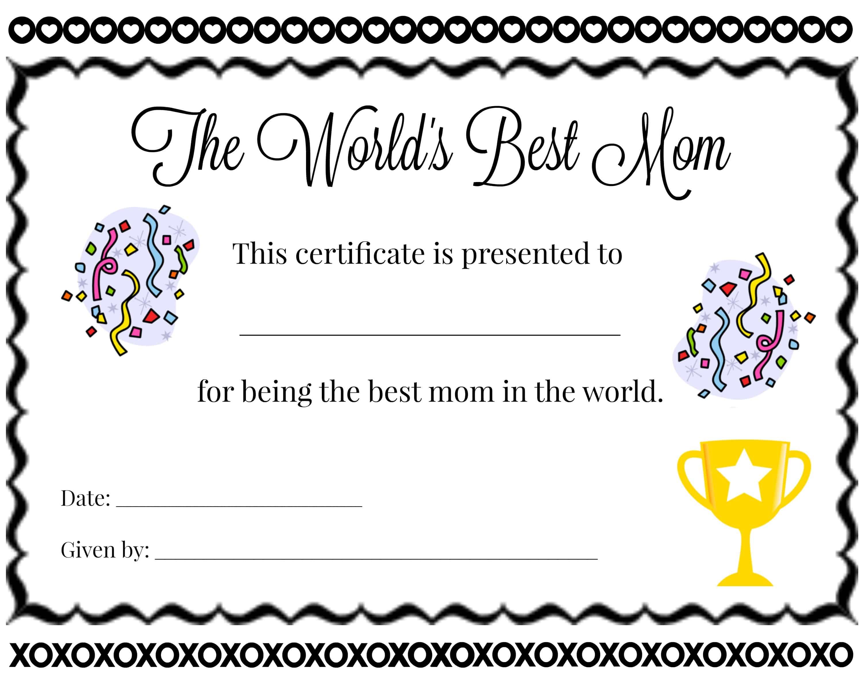 Best Mom Certificate
