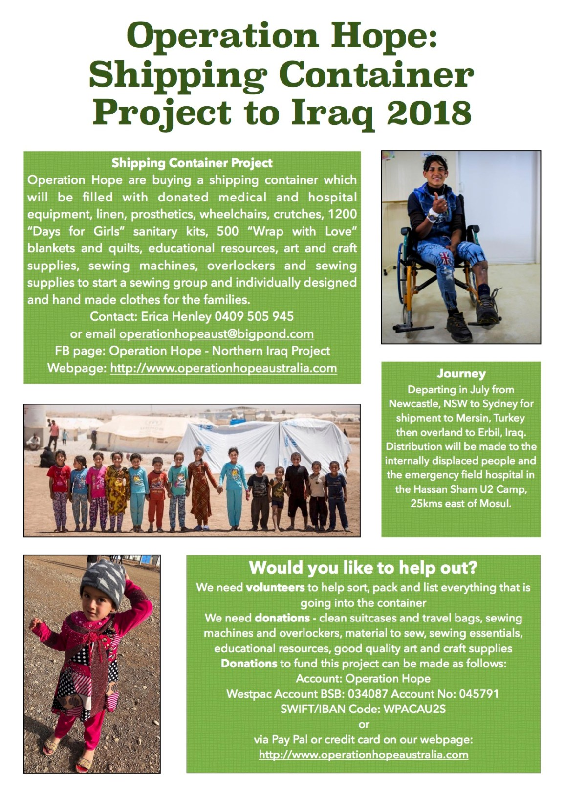 Operation Hope Shipping container project flyer