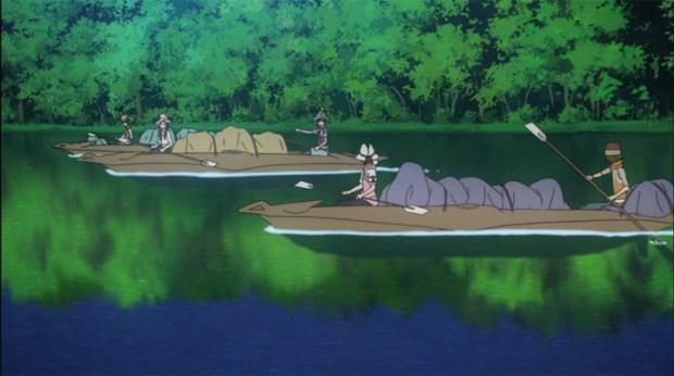 Shin Sekai Yori - Saki and the others row down the river.