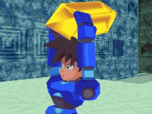 Legends - Mega Man grabs a refractor.