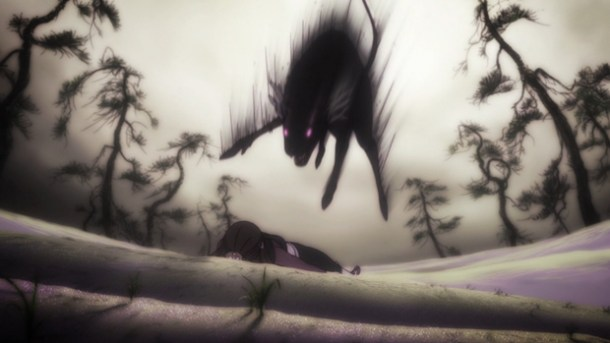 Shin Sekai Yori - Saki attacked by Cat