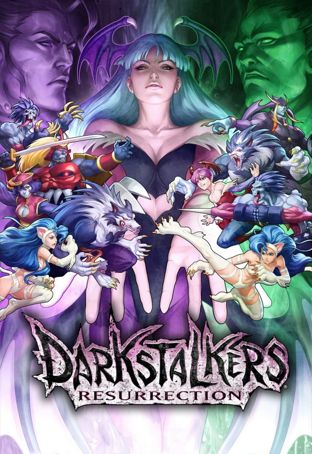Darkstalkers Resurrection logo and characters