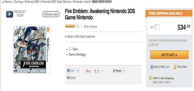Fire Emblem Awakening at Newegg