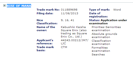 Rise of Mana trademarked