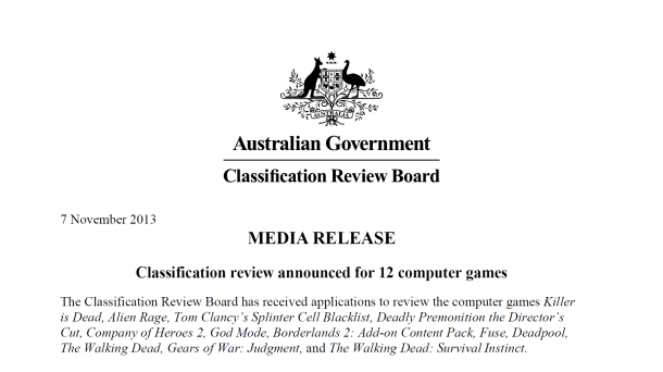Australian Government Classification Review Board | Announcement of Classification Review of 12 Games